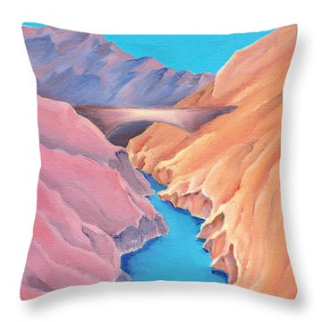 Throw Pillow featuring the painting The Bridge by Elizabeth Lock