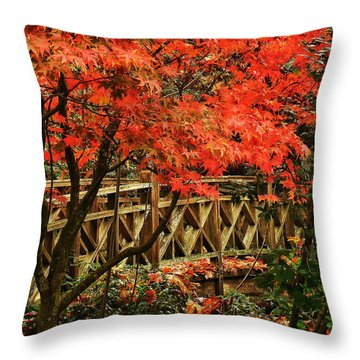 The Bridge In The Park Throw Pillow