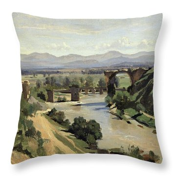 The Bridge Of Augustus Over The Nera Throw Pillow by Jean Baptiste Camille Corot