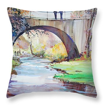 The Bridge Over Brewster Garden Throw Pillow
