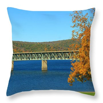Throw Pillow featuring the photograph The Bridge by Rick Morgan