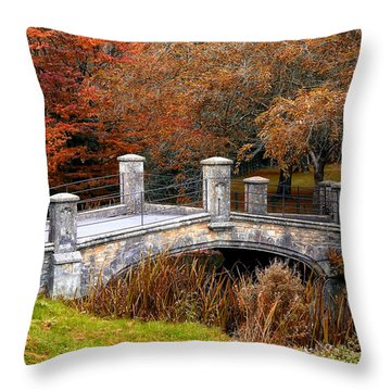 The Bridge To Autumn By Mike Hope Throw Pillow