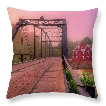 The Bridge To War Eagle Mill - Arkansas - Historic - Sunrise Throw Pillow