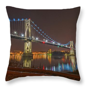 The Bridge With Blue Holiday Lights Throw Pillow