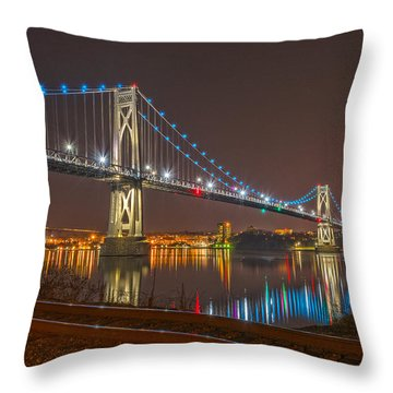 The Bridge With Blue Holiday Lights Throw Pillow by Angelo Marcialis