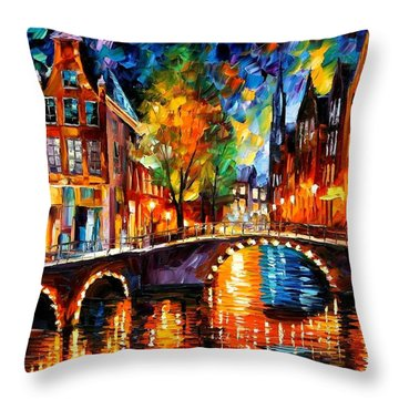 The Bridges Of Amsterdam Throw Pillow by Leonid Afremov