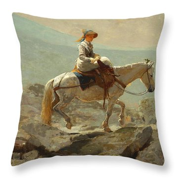 Throw Pillow featuring the painting The Bridle Path, White Mountains - 1868 by Winslow Homer