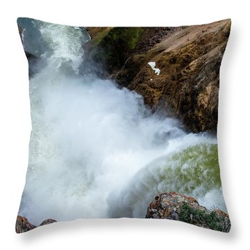 The Brink Of The Lower Falls Of The Yellowstone River Throw Pillow
