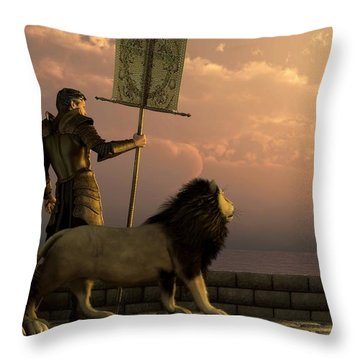The Bronze Knight Of The Isle Of Lions Throw Pillow by Daniel Eskridge