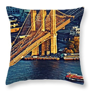 Throw Pillow featuring the photograph The Brooklyn Bridge At Sunset   by Sarah Loft