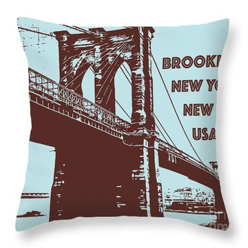 The Brooklyn Bridge, New York, Ny Throw Pillow