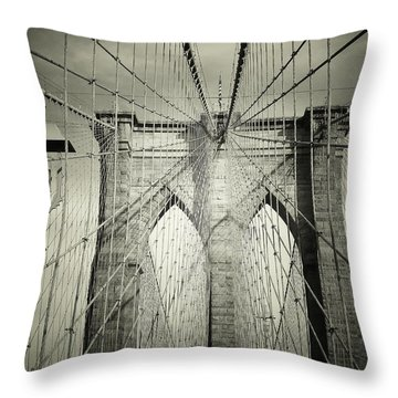 The Brooklyn Bridge Throw Pillow by Vivienne Gucwa