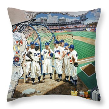 The Brooklyn Dodgers In Ebbets Field Throw Pillow
