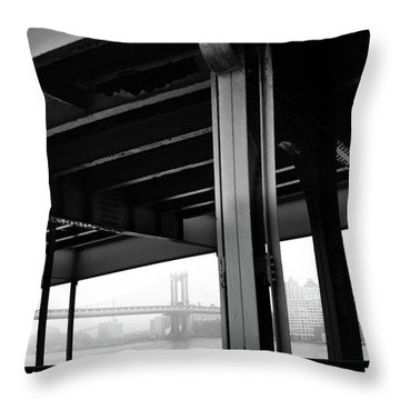 The Brooklyng Bridge And Manhattan Bridge From Fdr Drive Throw Pillow