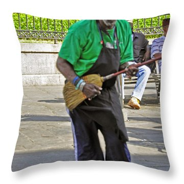 The Broom Musician Throw Pillow
