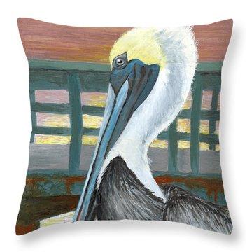 The Brown Pelican Throw Pillow