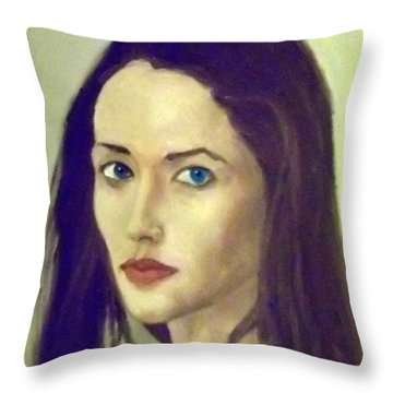 The Brunette With Blue Eyes Throw Pillow