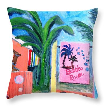 The Bubble Room Captiva Island Florida Throw Pillow by Annie St Martin