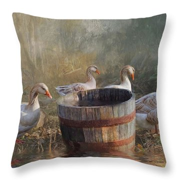 Throw Pillow featuring the photograph The Bucket Brigade by Robin-Lee Vieira