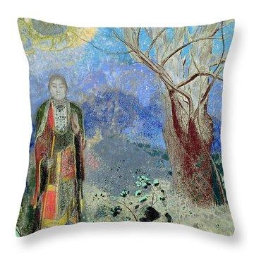 The Buddha Throw Pillow by Odilon Redon
