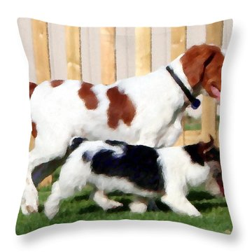 The Buddies Throw Pillow by Rebecca Smith