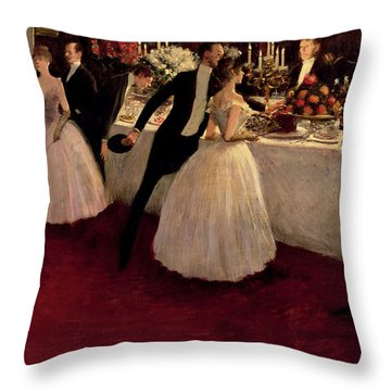 The Buffet Throw Pillow by Jean Louis Forain