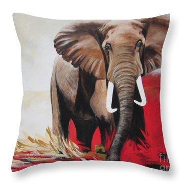 Win Win - The  Bull Elephant  Throw Pillow
