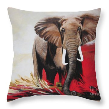 Win Win - The  Bull Elephant  Throw Pillow