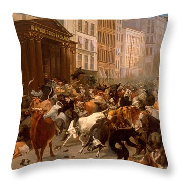 The Bulls And Bears In The Market Throw Pillow