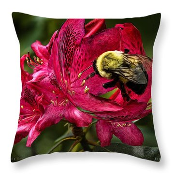 The Bumble Bee Throw Pillow by Mark Allen