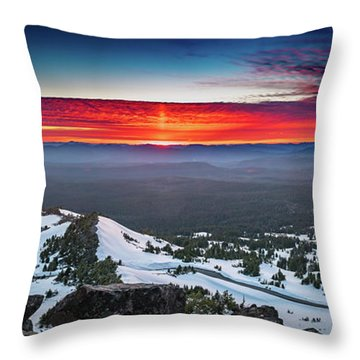 Throw Pillow featuring the photograph The Burning Clouds At Crater Lake by William Lee