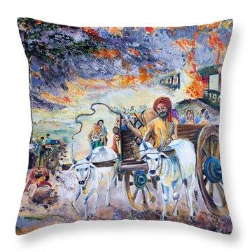 The Burning Punjab-1947 Throw Pillow