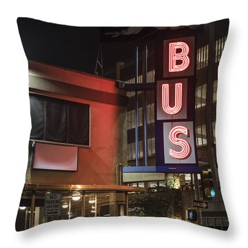 Throw Pillow featuring the photograph The Bus Stop by Break The Silhouette