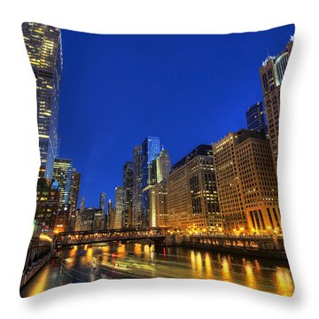The Busy River In Chicago Throw Pillow by Shawn Everhart