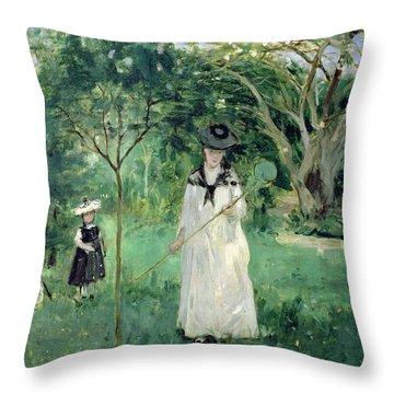 The Butterfly Hunt Throw Pillow by Berthe Morisot