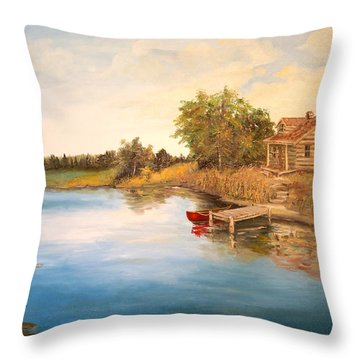 Throw Pillow featuring the painting The Cabin by Alan Lakin