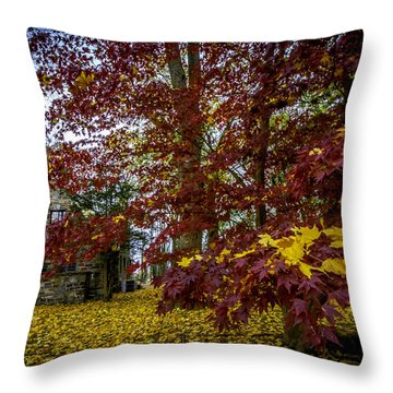 The Cabin In Autumn Throw Pillow