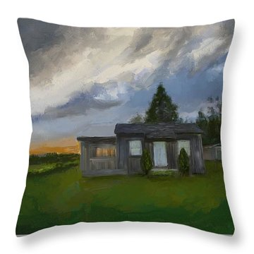 The Cabin On The Hill Throw Pillow