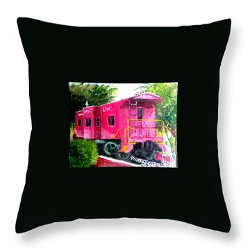 Throw Pillow featuring the painting The Caboose by Jim Phillips