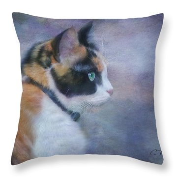Throw Pillow featuring the digital art The Calico Staredown  by Colleen Taylor