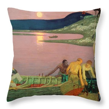 The Call Of The Sea Throw Pillow by Frederick Cayley Robinson