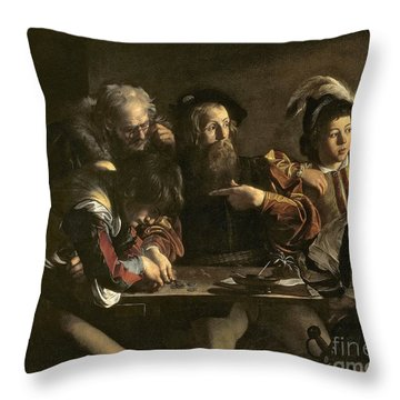 The Calling Of St. Matthew Throw Pillow by Michelangelo Merisi da Caravaggio