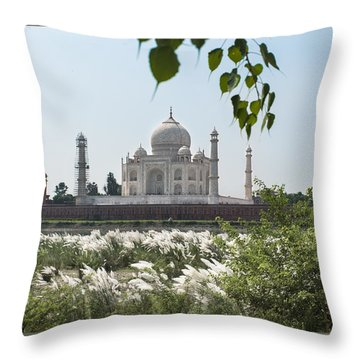 The Calm Behind The Taj Mahal Throw Pillow