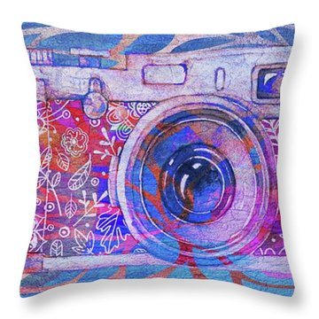 Throw Pillow featuring the digital art The Camera - 02c3t by Variance Collections