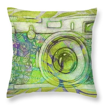 Throw Pillow featuring the digital art The Camera - 02c5bt by Variance Collections
