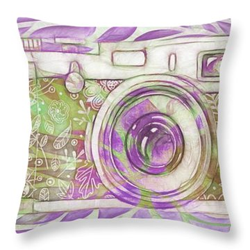 Throw Pillow featuring the digital art The Camera - 02c6 by Variance Collections