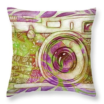 Throw Pillow featuring the digital art The Camera - 02c6t by Variance Collections