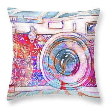 Throw Pillow featuring the digital art The Camera - 02c8v2 by Variance Collections