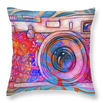 Throw Pillow featuring the digital art The Camera - 02v2 by Variance Collections