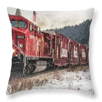The Canadian Pacific Holiday Train Throw Pillow